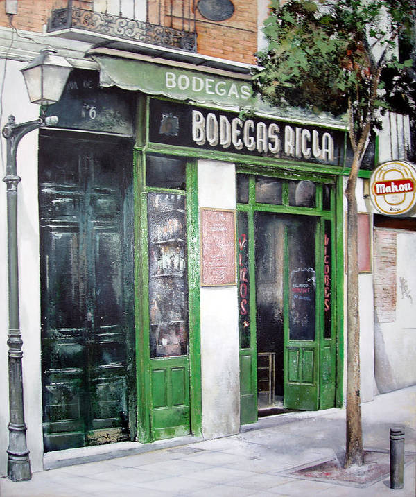 Bodegas Print featuring the painting Old Tavern-madrid by Tomas Castano