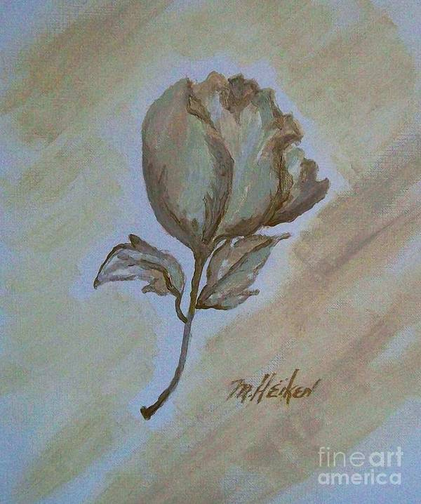 Rose Art Print featuring the painting One Rose by Marsha Heiken
