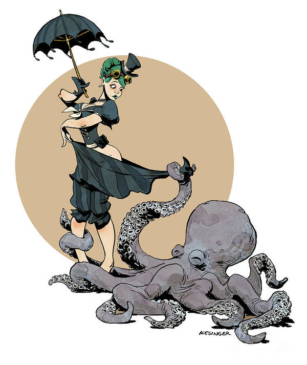 Octopus Art Print featuring the digital art Otto By The Sea by Brian Kesinger