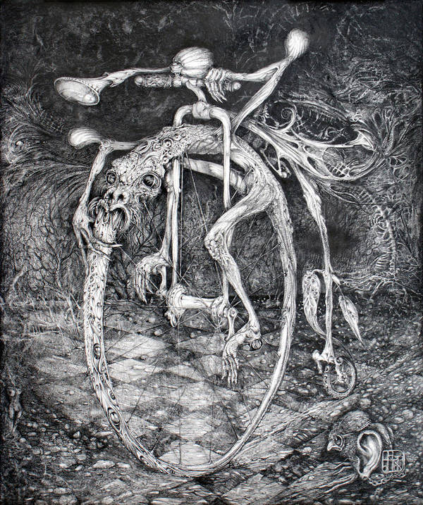 Ouroboros Art Print featuring the drawing Ouroboros Perpetual Motion Machine by Otto Rapp