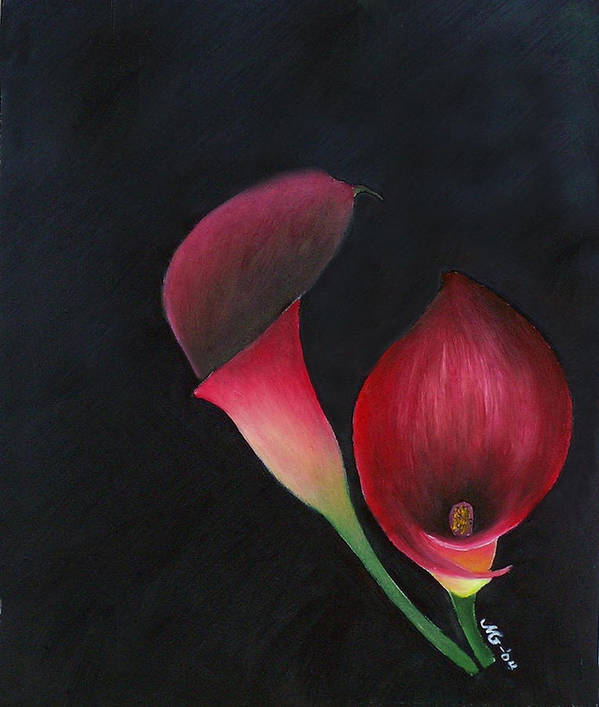 Oil Art Print featuring the painting Red Calla Lillies by Mary Gaines