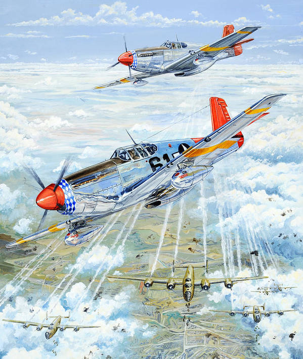 P-51 Art Print featuring the painting Red Tail 61 by Charles Taylor