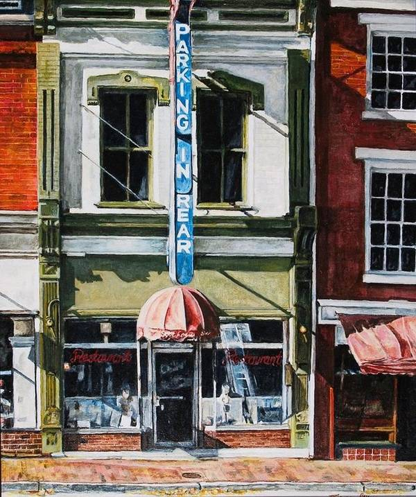 Street Scene Art Print featuring the painting Restaurant by Thomas Akers
