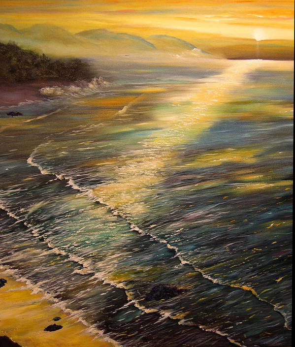 Connie Tom Art Print featuring the painting Romantic Sunset At Oceanside by Connie Tom