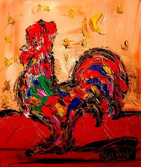 Red Poppies Art Print featuring the painting Rooster by Mark Kazav
