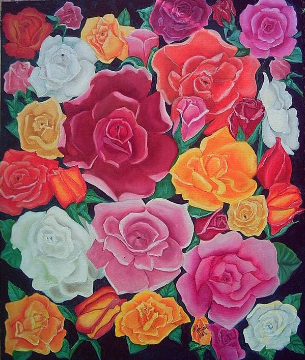 Rose Art Print featuring the painting Rose Reunion by Kathern Welsh