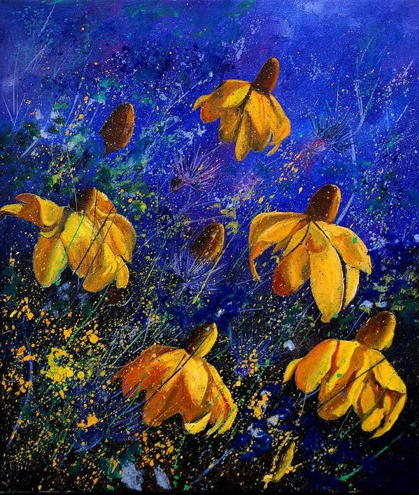 Poppies Art Print featuring the painting Rudbeckia's by Pol Ledent