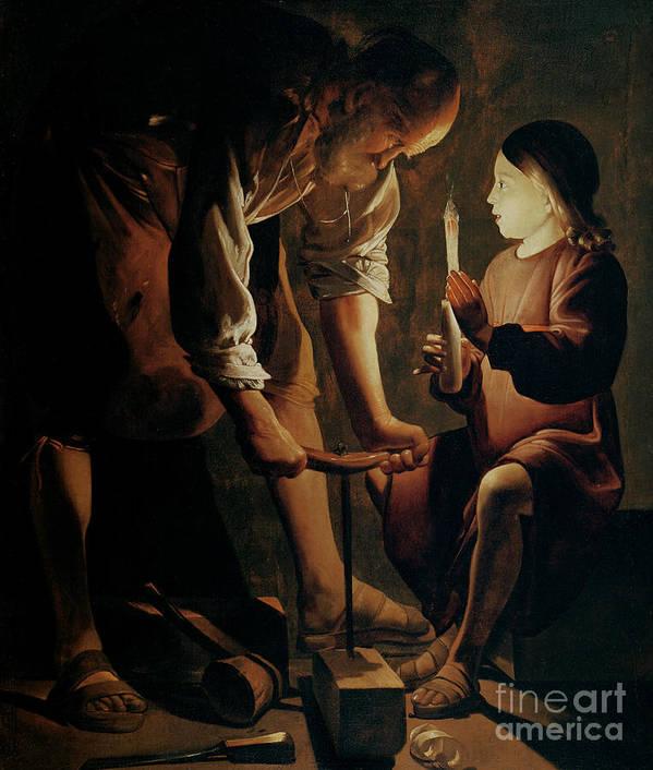 Georges De La Tour Art Print featuring the painting Saint Joseph The Carpenter by Georges de la Tour