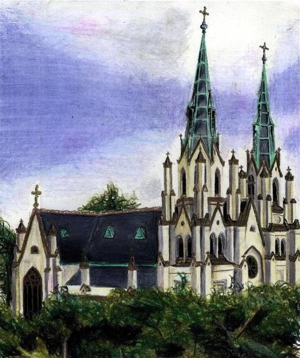 Buildings Art Print featuring the drawing Savannah Cathedral by Scarlett Royal