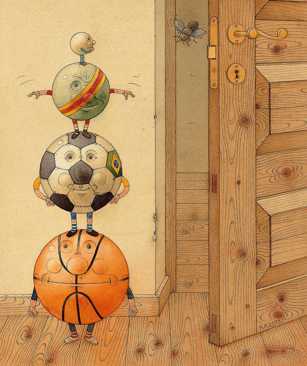Ball Sport Room Door Fly Art Print featuring the painting Scary Story by Kestutis Kasparavicius