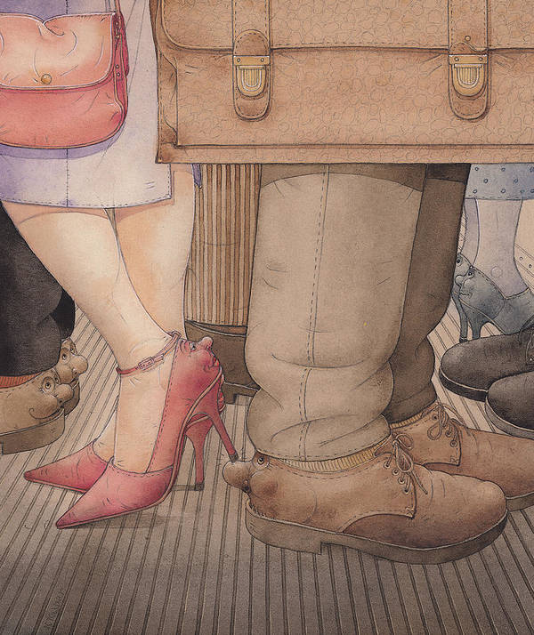 Shoes Flirt Metro Love Amour Art Print featuring the painting Shoes by Kestutis Kasparavicius