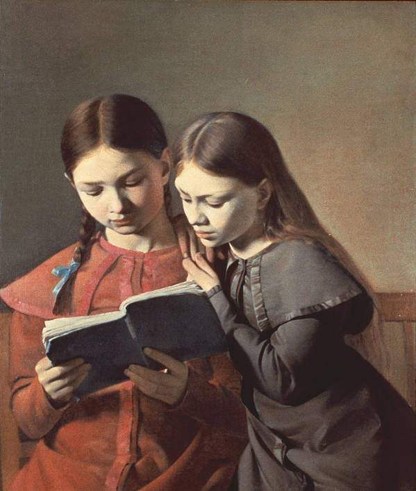 The Art Print featuring the painting Sisters Reading A Book by Carl Hansen