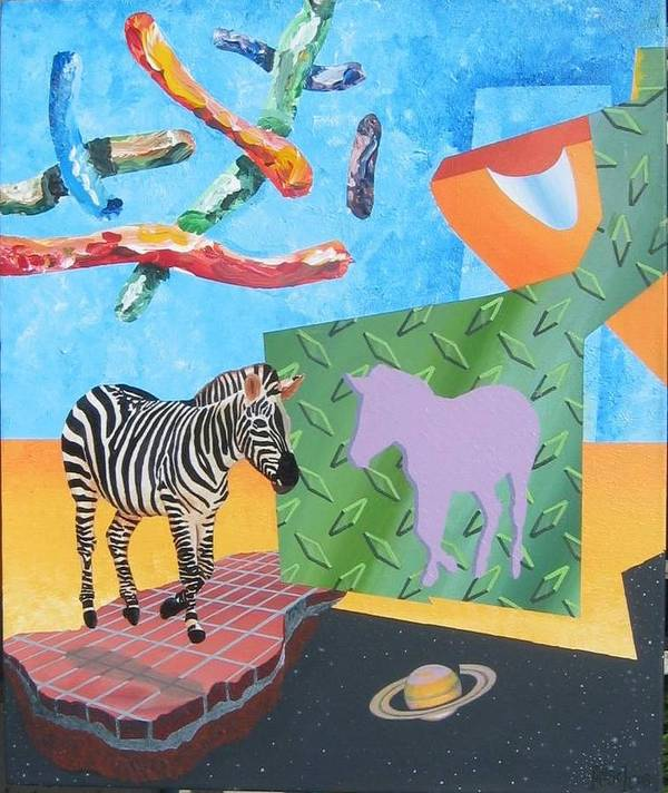 Environmental Surrealism Art Print featuring the painting Skyworms With Levitated Zebra And The Planet Saturn by Jeffrey Frisch