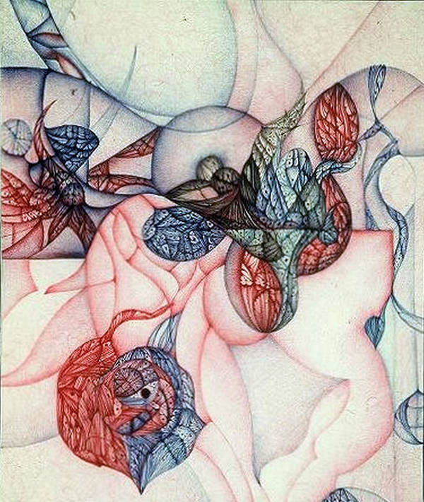 Ballpoint; Abstract Art Print featuring the drawing Slow Motion Falling Image One by Jack Dillhunt