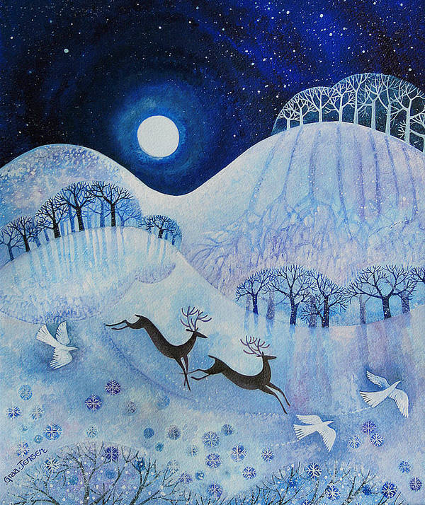 Snowy Art Print featuring the painting Snowy Peace by Lisa Graa Jensen