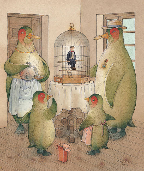 Birds Opera Art Print featuring the painting Songman by Kestutis Kasparavicius