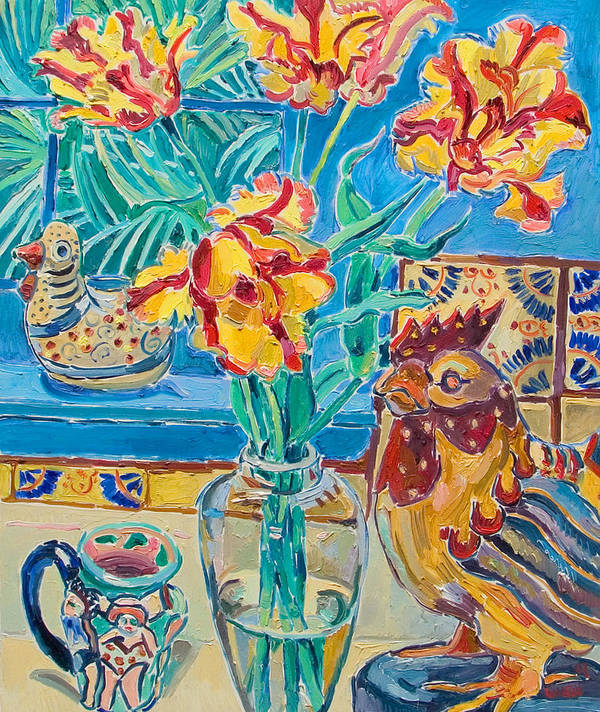 Still-life Art Print featuring the painting Still Life With Rooster And Tulips by Vitali Komarov