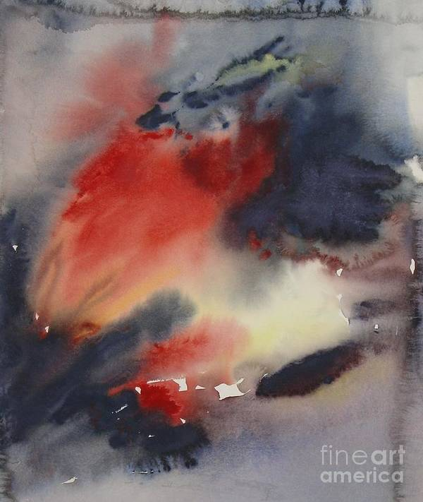 Sky Sunset Red Dark Stormy Evening Dusk Clearing Leila Atkinson Original Watercolor Art Print featuring the painting Sunset Series I by Leila Atkinson