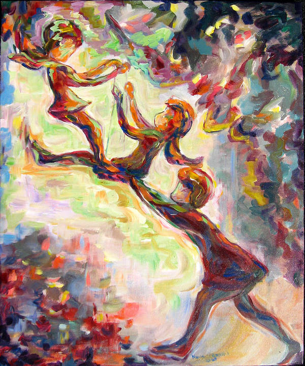 Children Swinging Art Print featuring the painting Swinging High by Naomi Gerrard