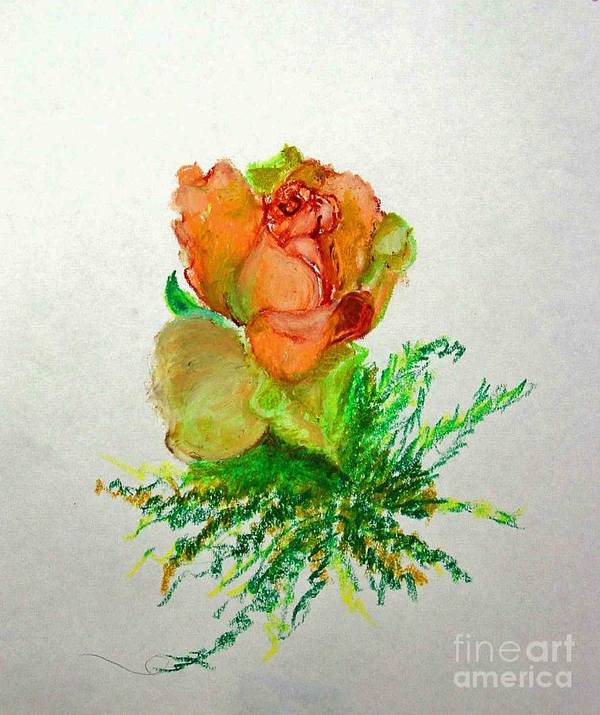 Greeting Card Art Print featuring the painting Tea Rose            Copyrighted by Kathleen Hoekstra