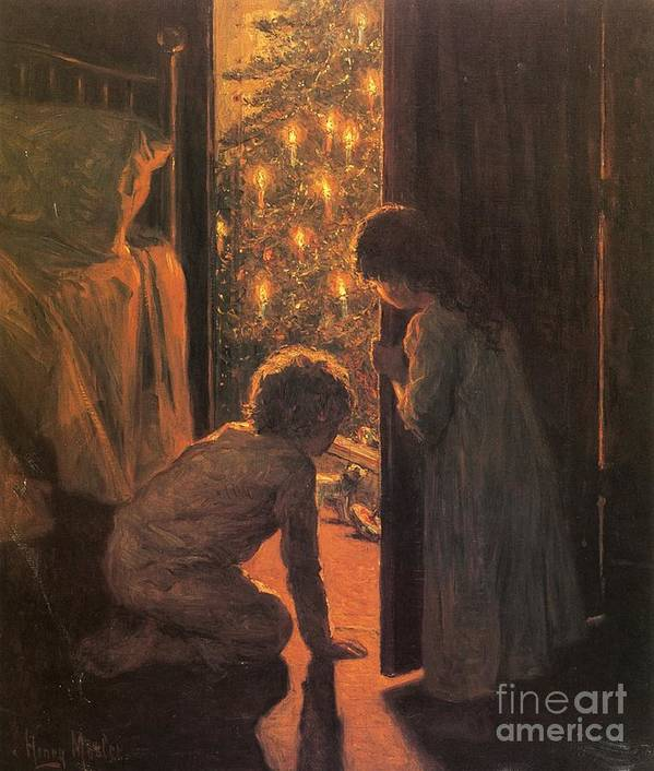 The Christmas Tree Art Print featuring the painting The Christmas Tree by Henry Mosler