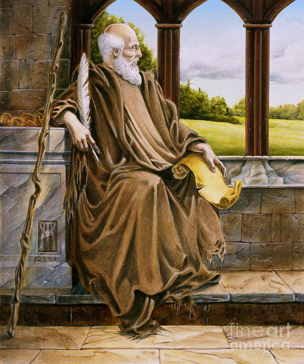 Wise Man Art Print featuring the painting The Hermit Nascien by Melissa A Benson