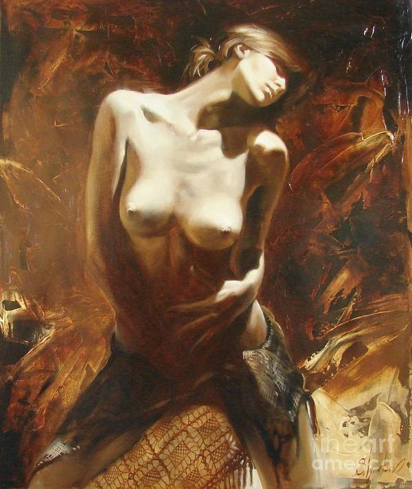 Oil Art Print featuring the painting The Incinerating Passion by Sergey Ignatenko