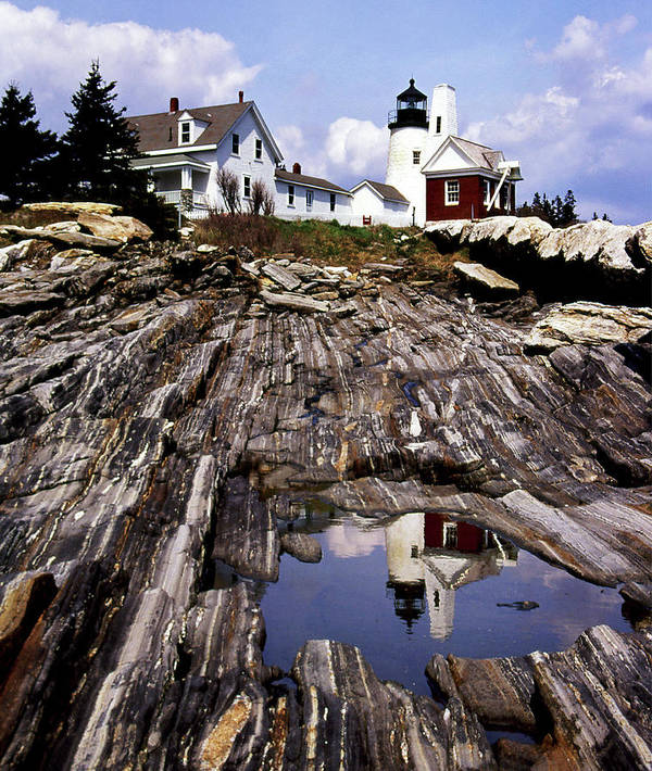 Lighthouses Art Print featuring the photograph The Reflection At Pemaquid by Skip Willits