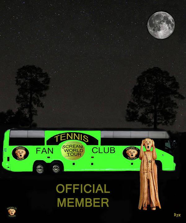 Scream World Tour Art Print featuring the mixed media The Scream World Tour Tennis Tour Bus by Eric Kempson