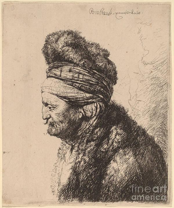 Art Print featuring the drawing The Second Oriental Head by Rembrandt Van Rijn And Studio Of Rembrandt Van Rijn After Jan Lievens