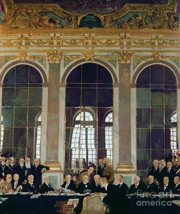 The Treaty Of Versailles Art Print featuring the painting The Treaty Of Versailles by Sir William Orpen
