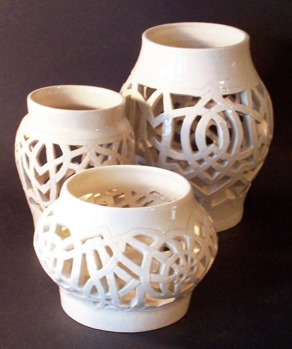 White Art Print featuring the ceramic art Three Interlaced Design Wheel Thrown Pots by Carolyn Coffey Wallace