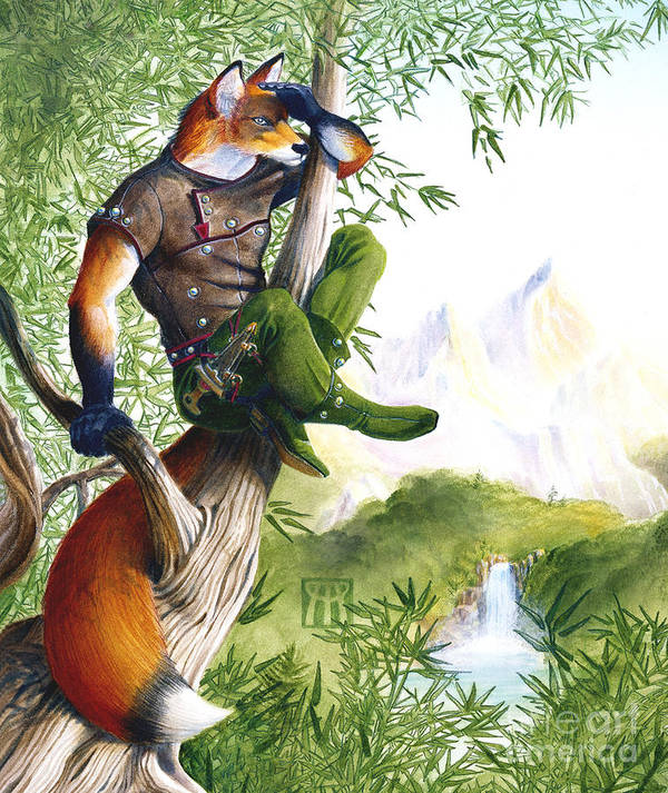 Fantasy Art Print featuring the painting Trail Blazing Fox by Melissa A Benson
