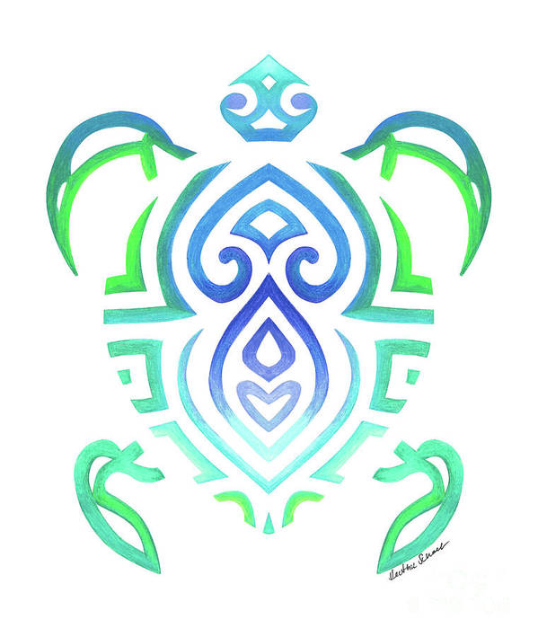 16a879e4a6c31 Tribal Turtle White Background Art Print by Heather Schaefer