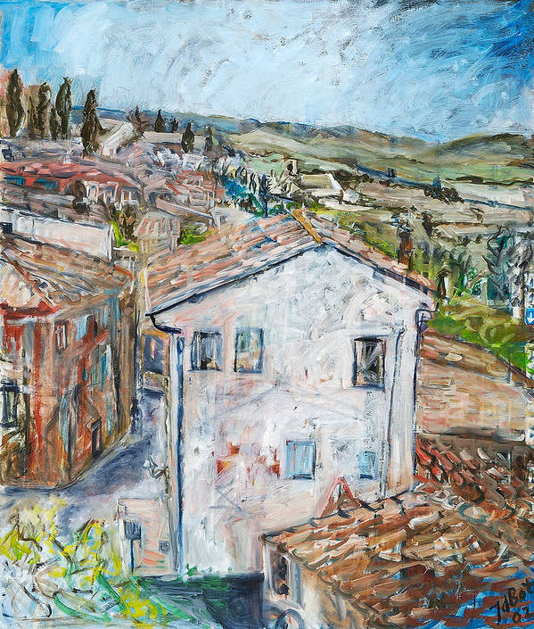 Tuscany Italy White House Landscape Cypresse Hills Roofs Sheds Houses Blue Sky Fields Tiles Art Print featuring the painting Tuscan House by Joan De Bot