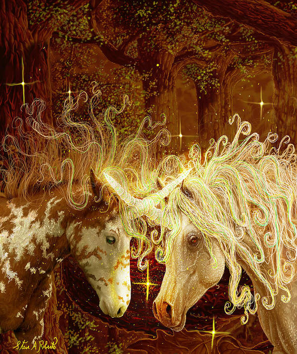Unicorns Art Print featuring the painting Two Of A Kind by Steve Roberts