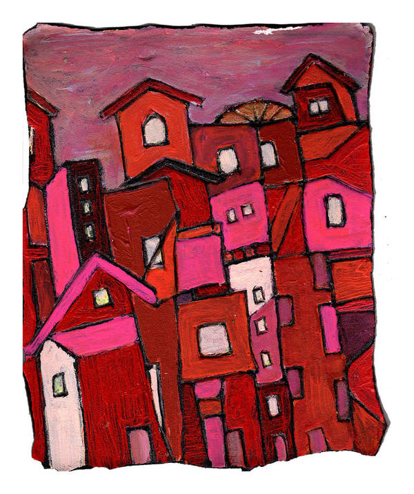 Village Art Print featuring the painting Village In Pink by Wayne Potrafka