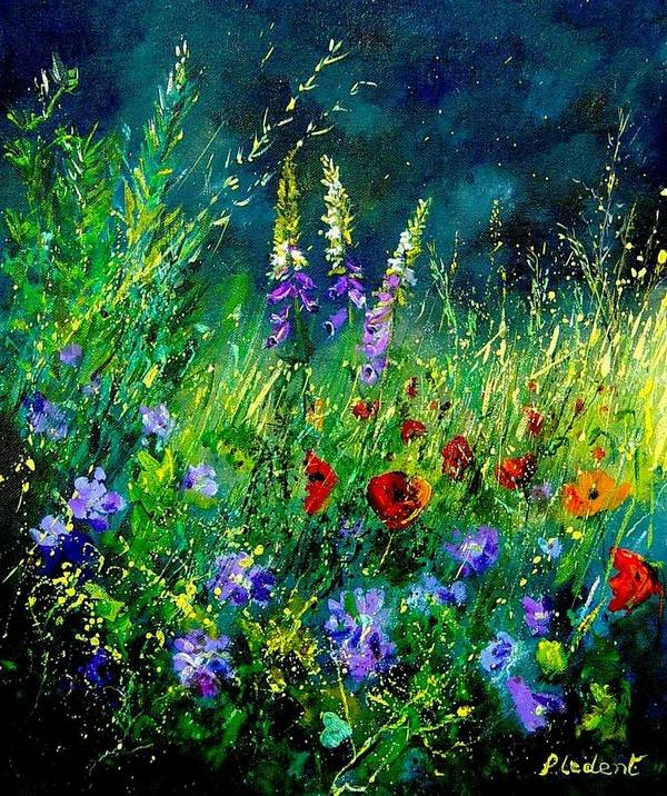 Poppies Art Print featuring the painting Wild Flowers by Pol Ledent