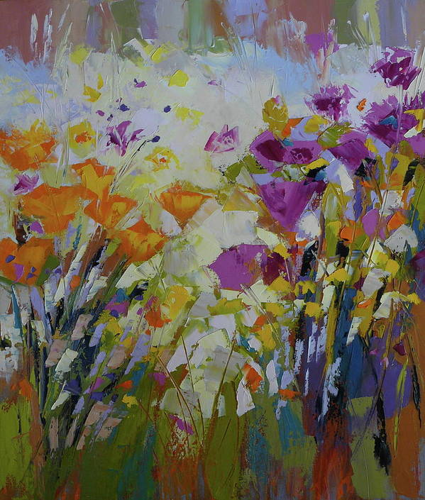 Landscape Art Print featuring the painting Wild Flowers by Yvonne Ankerman