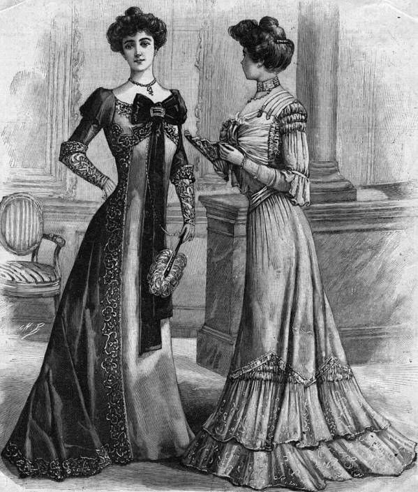 Clothing Art Print featuring the photograph Dinner Gowns by Hulton Archive