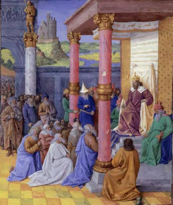 Emperor Art Print featuring the painting Emperor Cyrus The Great Of Persia Who Permitted The Hebrews To Return To The Holy Land And by Fouquet Jean
