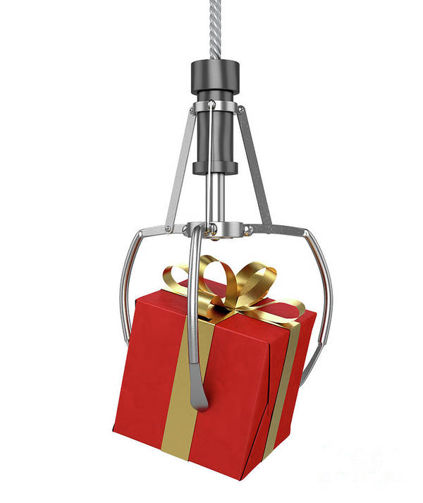 Gift Art Print featuring the digital art Machine Claw Grabbing Gift by Allan Swart