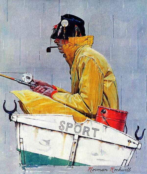 Fishing Art Print featuring the drawing Sport by Norman Rockwell