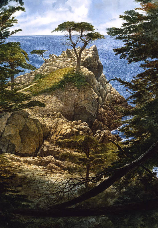 Seascape Art Print featuring the painting Lone Cypress by Tom Wooldridge