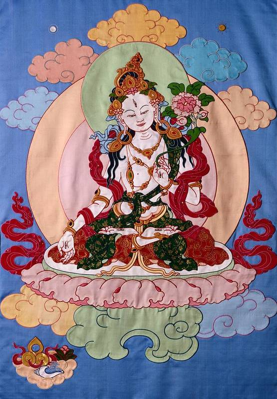 Longevity Art Print featuring the tapestry - textile White Tara by Leslie Rinchen-Wongmo