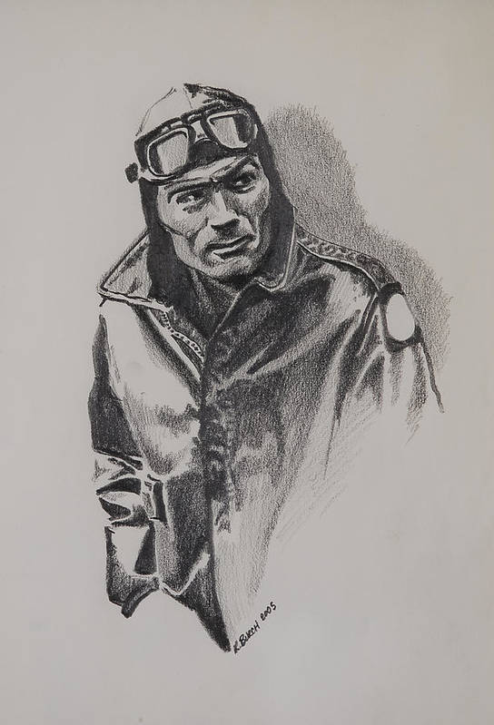 Aviation Art Print featuring the drawing Aviator by Kerry Burch