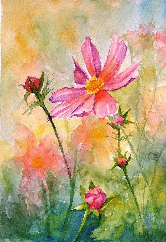 Flower Art Print featuring the painting Cosmos by Dorothy Nalls