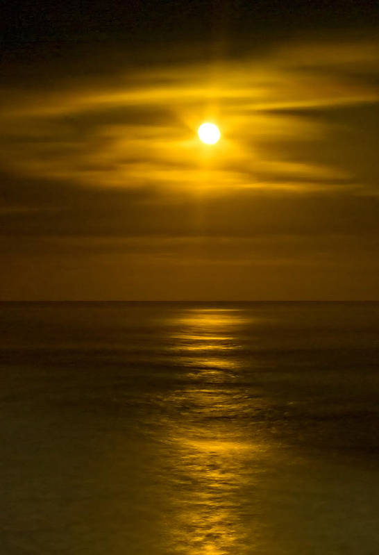 Moon Art Print featuring the photograph Moon Over Pacific by Dale Stillman