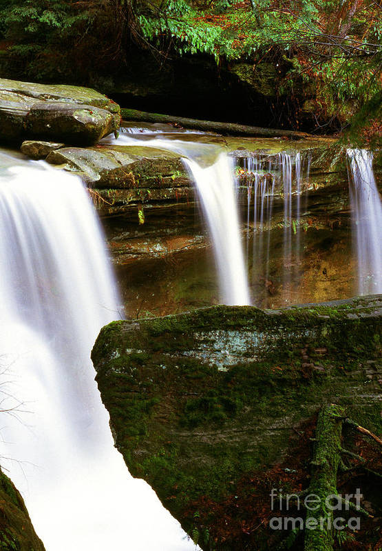 Waterfall Art Print featuring the photograph Rock And Waterfall by Thomas R Fletcher
