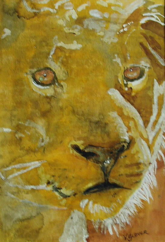 Lioness Art Print featuring the painting Staying Awake by Victoria Glover